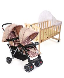 Babyhug 2 In 1 Rock A Cot - Light Brown AND Babyhug Twinster Stroller - Coffee Brown