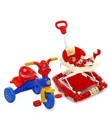 Mee Mee Walker Cum Rocker Monkey Face Design MM-W 913 - Red AND Mee Mee Cheerful Tricycle With Music Dark Blue - CH-9888