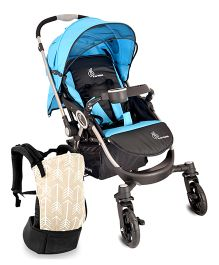 R for Rabbit Chocolate Ride The Designer Pram - Blue & Black AND R for Rabbit Hug Me 3 Way Baby Carrier Arrow Print - Cream