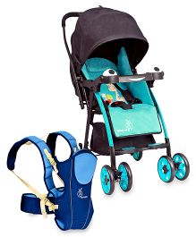 R for Rabbit Poppins An Ideal Pram For Moms - Blue & Black AND R for Rabbit Chubby Cheeks 3 Way Baby Carrier - Blue