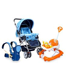 R for Rabbit Chubby Cheeks 3 Way Baby Carrier - Blue AND R for Rabbit Humpty Dumpty The Safe Rocking Walker - Orange AND R for Rabbit Lollipop The Colorful Pram STLPBC1 - Blue
