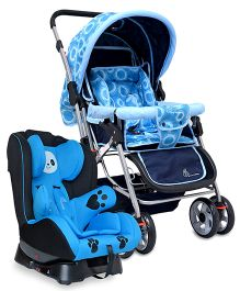 R for Rabbit Lollipop The Colorful Pram STLPBC1 - Blue AND R for Rabbit Jolly Panda The Convertible Car Seat - Sky Blue