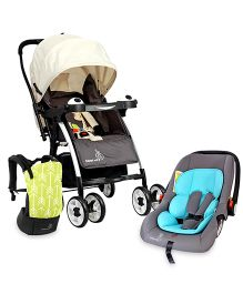 R For Rabbit Travel time essentials- 3 Way Carrier, Convertible car Seat And Poppins Ideal Pram for Mom.