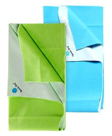 Quick Dry Bed Protector Mat Blue - Medium AND Quick Dry Bed Protector Mat Green - Medium