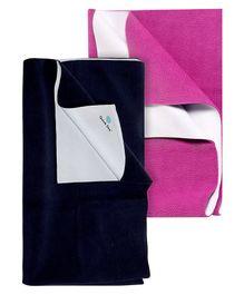 Quick Dry Bed Protector Mat Navy Blue - Medium AND Quick Dry Bed Protector Mat Orchid - Medium