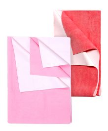 Quick Dry Bed Protector Mat Pink - Medium AND Quick Dry Bed Protector Mat Salmon Rose - Medium