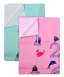 Quick Dry Number Print Pink - Small  AND Quick Dry Number Print Sea Green - Small