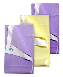 Quick Dry Bed Protector Yellow - Large AND Quick Dry Bed Protector Mat Lilac - Medium AND Quick Dry Bed Protector Small - Lilac