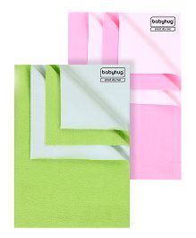 Babyhug Smart Dry Bed Protector Sheet Green - Large AND Babyhug Smart Dry Bed Protector Sheet Pink - Medium