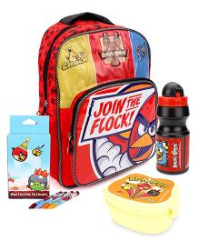 Angry Bird lunch box and backpack and wax crayons and water bottle