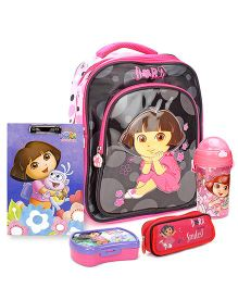 Dora backpack and pencil pouch and writing board and sipper bottle and sipper bottle and lunch box set