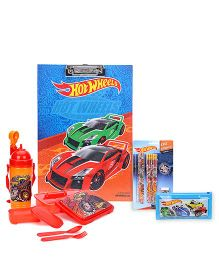 Hot Wheels lunch box with sipper bottle and clipboard and pencil pouch and stationery set