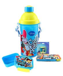 Disney lunch box and pencil box and sharpener and sipper bottle