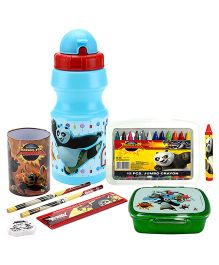 Kung Fu pen holder and crayons and water bottle and lunch box