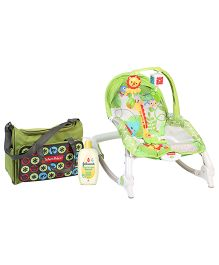 Johnsons baby Top to Toe Wash  500 ml AND Fisher Price Newborn to Toddler Rocker With Free Diaper Bag  Green