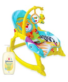 Johnsons baby Top to Toe Wash  500 ml AND Luvlap Jungle Hut Toddler Rocker Yellow  18199