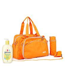 Johnsons baby Top to Toe Wash  500 ml AND My Milestones Diaper Bag Duo Detach  Orange
