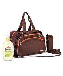 Johnsons baby Top to Toe Wash  500 ml AND My Milestones Diaper Bag Duo Detach  Coffee Brown
