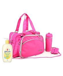 Johnsons baby Top to Toe Wash  500 ml AND My Milestones Diaper Bag Duo Detach  Pink
