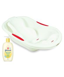 Johnsons baby Top to Toe Wash  500 ml AND Babyoye Joy Baby Bathtub With Bather  White