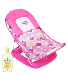 Johnsons baby Top to Toe Wash  500 ml AND Babyhug Bubble Joy Deluxe Baby Bather  Pink