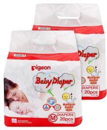 Pigeon Baby Diaper Medium - 20 Pieces Pack of 2
