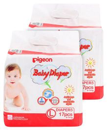 Pigeon Baby Diaper Large - 17 Pieces Pack of 2