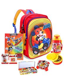 Disney Lunch Box and School Bag and Exam Clipboard and Pencil Sharpener and Pencil Box and Eraser and Sipper Bottle
