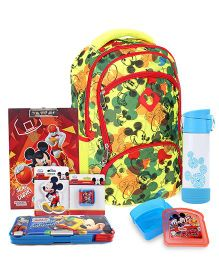 Disney Lunch Box and School Bag and Writing Pad and Pencil Sharpener and Pencil Box and Eraser and Water Bottle