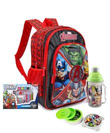 Marvel Avengers School Bag and Glitter Pen and Pencil Set and Sipper Bottle and Lunch Box