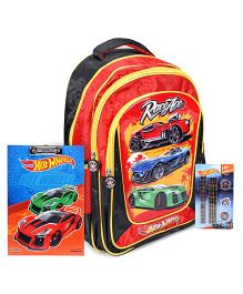 Hotwheels School Bag and Exam Clipboard and Stationery Set