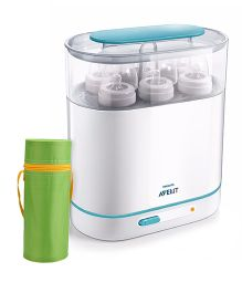 Avent 3-in-1 Electric Steam Sterilizer and  Insulated Feeding Bottle Holder - Green