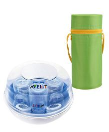 Avent Microwave Steam Sterilizer and  Insulated Feeding Bottle Holder - Green