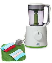 Avent Combined Steamer And Blender and Babyoye Wash Cloths Pack of 7 - Multicolour