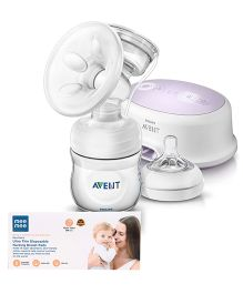 Avent Single Electric Breast Pump  and Mee Mee Ultra Thin Disposable Nursing Breast Pad Pack of 12