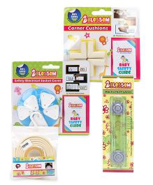 Blossom Child Proofing Electrical Socket Cover -Pack Of 5 , Corner Cushions ,  Sharp Edge Protector White - 2 Meter Long AND  Multi Utility Latch