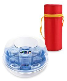 Avent Microwave Steam Sterilizer and Round Insulated Feeding Bottle Holder - Red