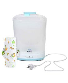 Avent - 2 In 1 Electric Steam Slim Sterilizer and Insulated Single Bottle Bag Bear Print