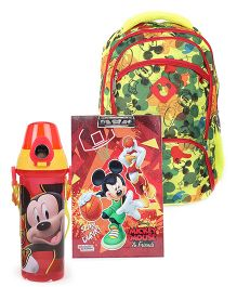 Disney Mickey Mouse school bag and sipper bottle and writing pad