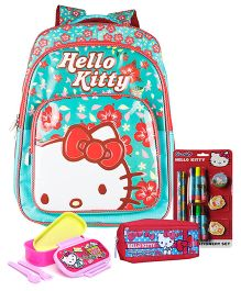 Hello Kitty lunch box and pencil pouch and backpack and stationery set