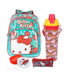 Hello Kitty lunch box and pencil pouch and siper bottle and backpack