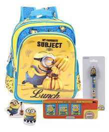 Minions school bag and pencil box and ball pen and eraser set