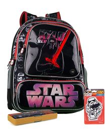 Disney star wars backpack and pencil box and eraser