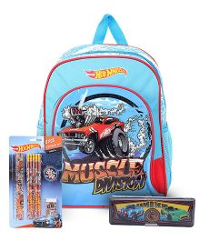 Hotwheels school bag and pencil box and stationery set