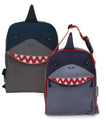 My Milestones Toddler And Kids Backpack & Lunch Bag Shark Navy And Grey - 13 inch