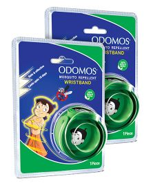 Dabur Odomos Mosquito Repellent Wrist Band Green - 1 Piece pack of 2