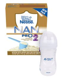 Nestle Nan Pro Stage 2 Follow Up Formula  Bib - 400 gm AND Avent Natural Plastic Baby Bottle - 260 ml