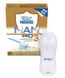 Nestle NAN PRO 3 Follow Up Formula Bib 24 x 400 g In AND Avent Natural Plastic Baby Bottle - 260 ml