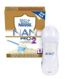 Nestle Nan Pro Stage 2 Follow Up Formula  Bib - 400 gm AND Avent Natural Plastic Baby Bottle - 330 ml