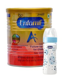 Enfamil A With DHA Stage 3 Follow Up Formula - 400 gm AND Chicco Well Being Feeding Bottle - 250 ml